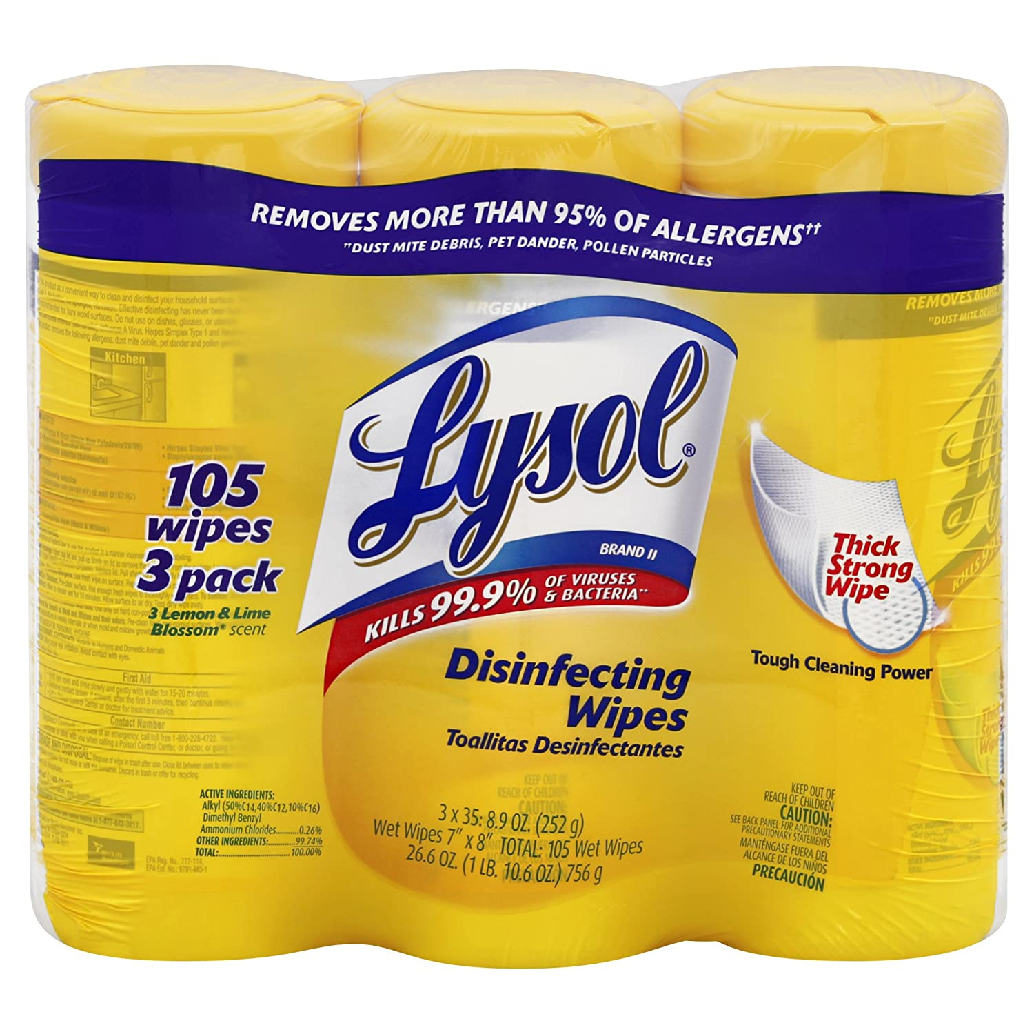 Lysol Disinfecting Wipes, Lemon and Lime Blossom Triple Pack, 3 – 35 Wet Wipe Cannisters $3.19