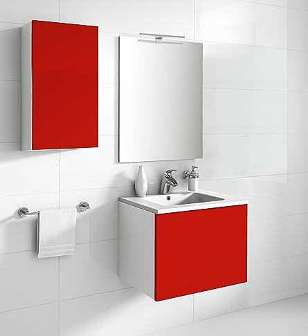 aleghe Eris–Mobile da bagno, colore: rosso lucido