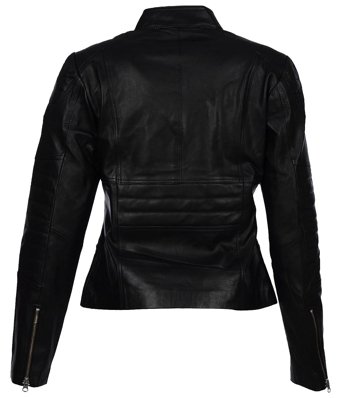 Leather jacket hoi an - Iftekhar Women S Genuine Lambskin Leather Jacket Slim Fit Black 02 Amazon In Clothing Accessories