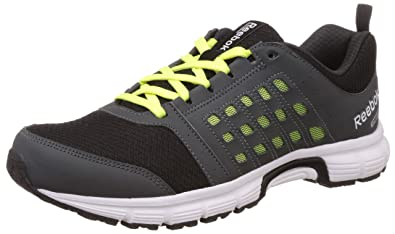 Reebok Men's Cruise Ride Black, Gravel, Yellow and White Running Shoes 10 UK