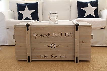 Caja de madera estilo Shabby Chic, con diseño de caja de mercancías, baúl, mesa baja, color gris