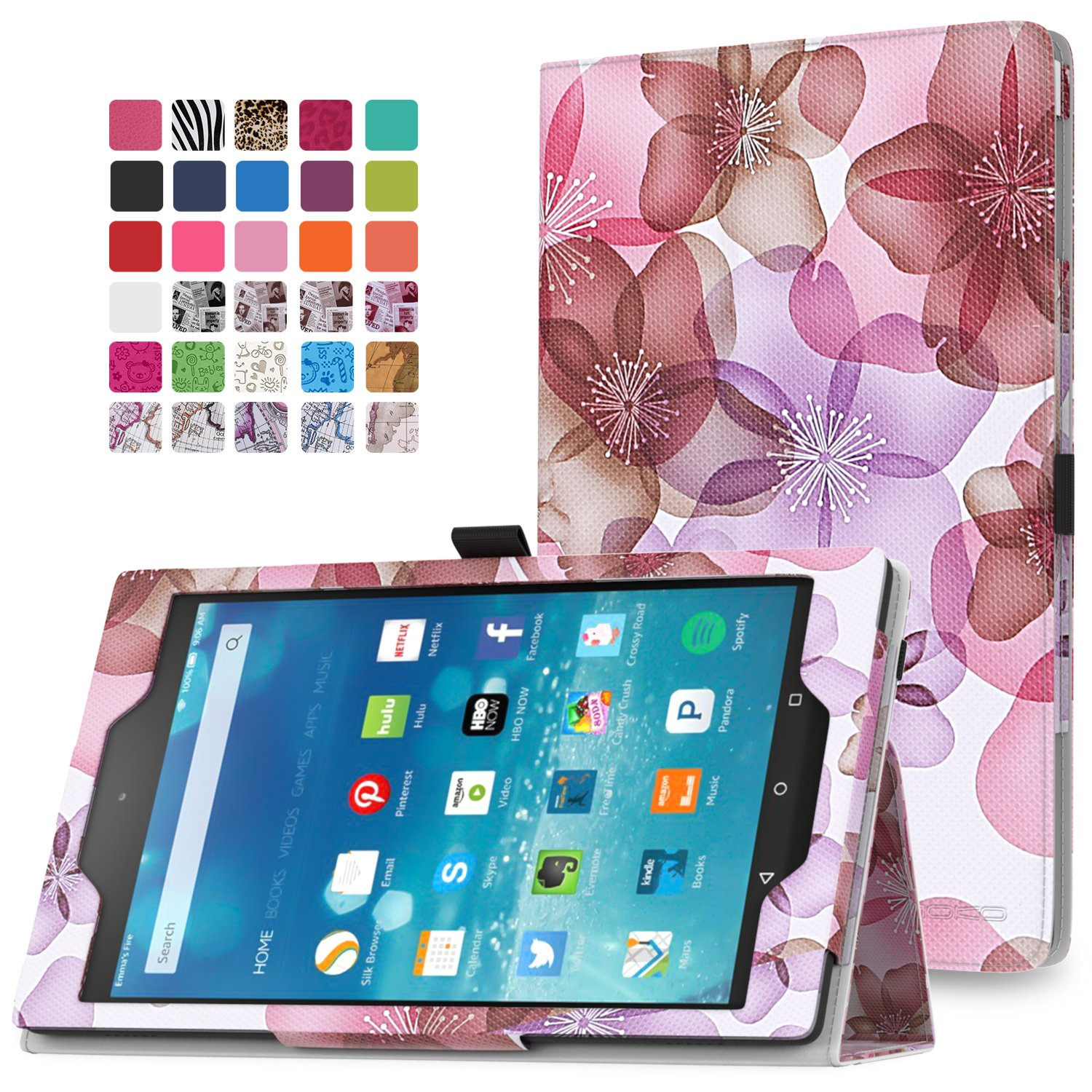 MoKo Fire HD 8 2015 Case - Slim Folding Cover with Auto Wake / Sleep for Amazon Kindle Fire HD 8 Inch Display Tablet (2015 Release Only), Floral PURPLE