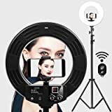 Ring Light GVM Ultra Slim-18 inch LED with Light Stand 3200K -5600K Lighting Kit for Makeup,Camera Smart phone YouTube Video Shooting, Photography Lighting, Phone Holder, Hot Shoe Adapter,Receiver (Tamaño: 18 Ring light)