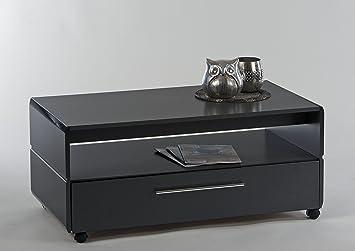 Couchtisch 100 x 55 cm grau Hochglanz