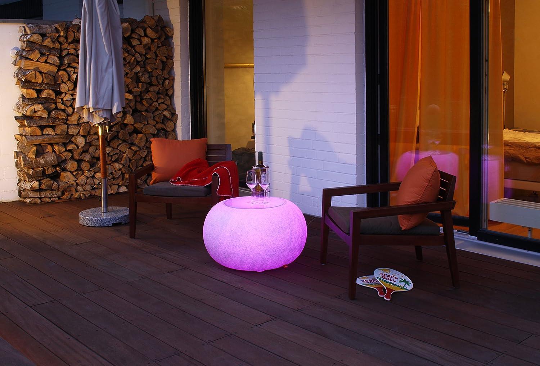 Bubble Granite OUTDOOR LED Mulitcolor E27 RGB Farbwechsel Beistelltisch, Sitzgelegenheit, Hocker von Moree 15-02-02-LED mit Glasplatte. Innovatives Möbel für Party, Terrasse, Garten, Frabe : grau / Graniteoptik
