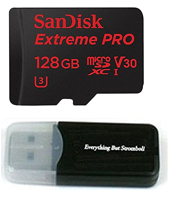 128GB Sandisk Extreme Pro 4K Memory Card for Gopro Hero 6, Fusion, Hero 5, Karma Drone, Hero 4, Session, Black Silver White - UHS-1 V30 128G Micro SDXC with Everything But Stromboli Card Reader (Color: white, Tamaño: 128GB)