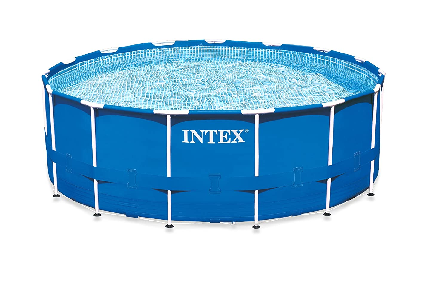Intex 15 foot by 42 inch round metal frame pool set review for Alberca intex redonda