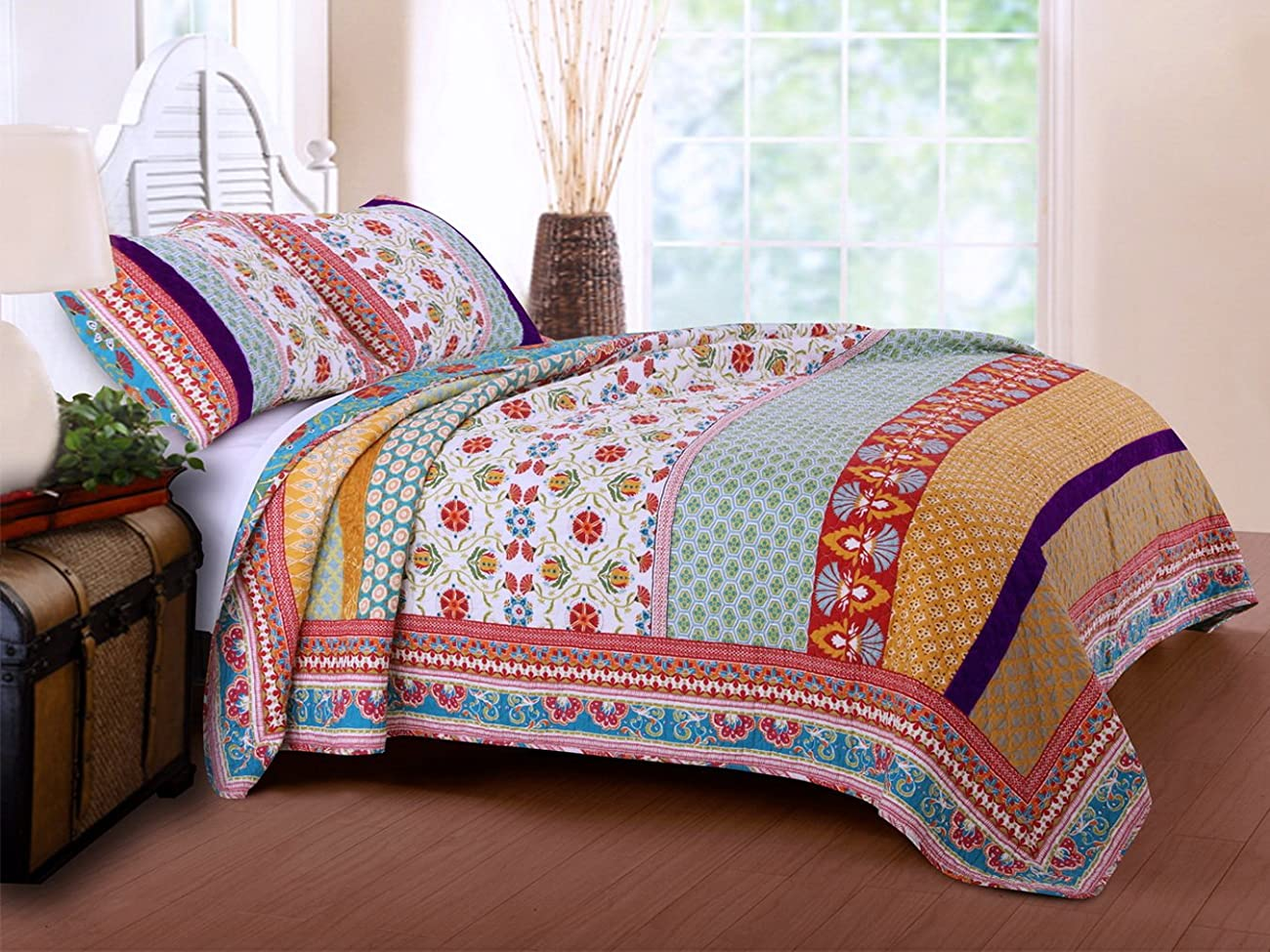 Retro Boho Quilt Set with Shams Print Geometric Floral Pattern Mandala Medallions Blue Red Yellow 100 Cotton Reversible 3 Piece Bedding Double Full Queen - Includes Bed Sheet Straps 1