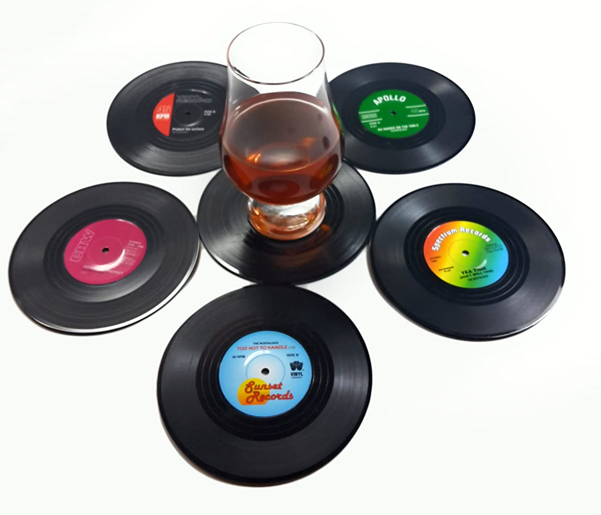 Set of 6 Colorful Vinyl Record Disk Coasters With Funny Labels - Perfect for Music Lovers