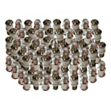 iMBAPrice (100 Pack) F-Jack to F-Quick Push On Plug - Male/Female - Adapter (Color: Chrome (100-Pack), Tamaño: F-Pin Push on)