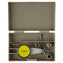 Mitutoyo 513-284GE Dial Test Indicator, Basic Set, Parallel Type, 8mm Stem Dia., Yellow Dial, 0-40-0 Reading, 40mm Dial Dia., 0-0.8mm Range, 0.01mm Graduation, +/-0.008mm Accuracy