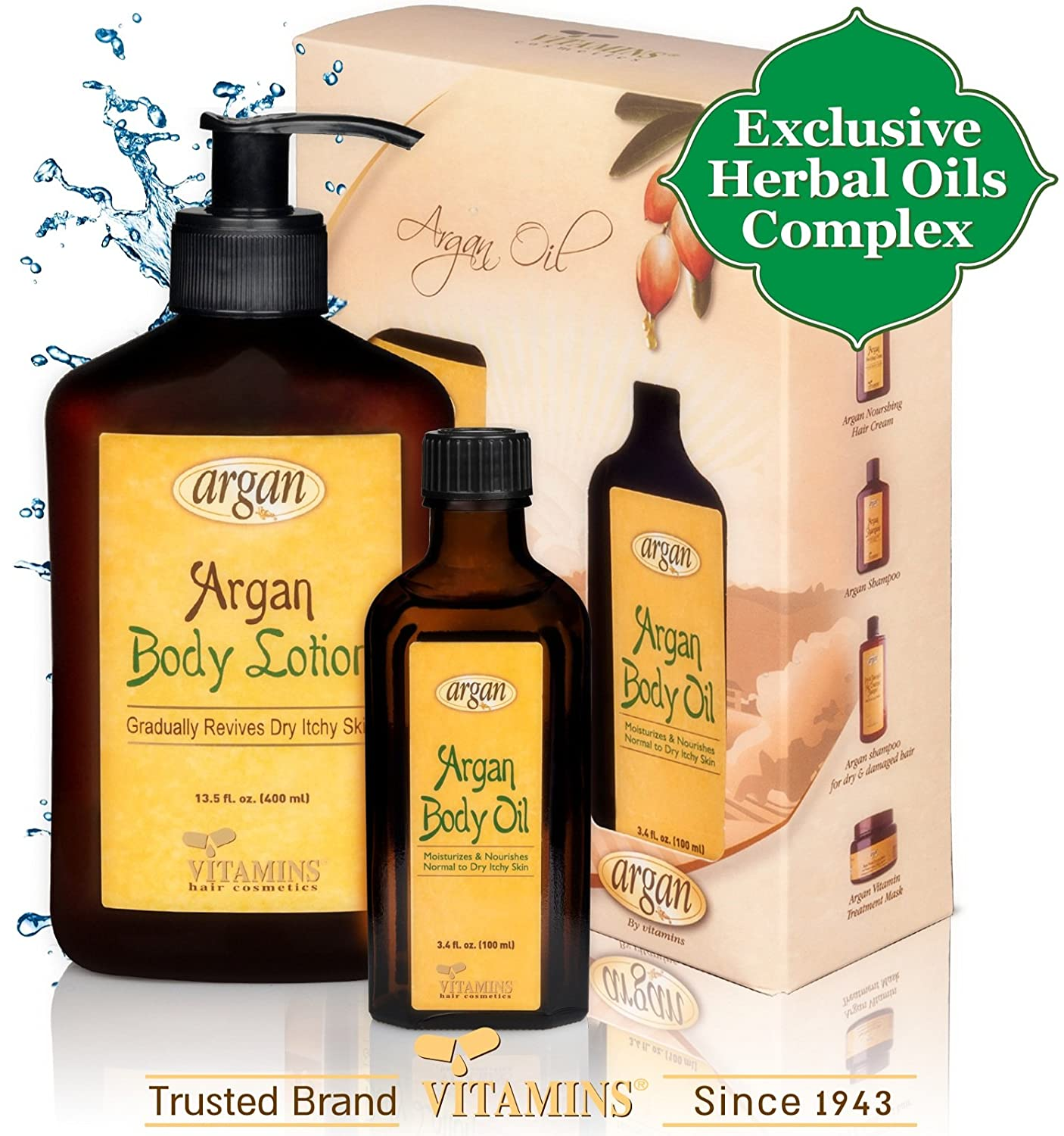 Body Lotion and Oil for Dry Skin Argan Oil Skin Care Treatment Kit – Natural Renew Moroccan Argan Body Cream + Serum ★ The Ultimate Daily Sensitive SkinCare Gel Creme Moisturizer & Skin Oil Leave in Therapy to Revive, Repair and Calm Dryness & Cracked Irritated Skin ★ Vitamins Premium Luxury Argan Gold Series Skin Products for Women & Men ★ Alcohol Free, Salt Free ★ SUPER VALUE ON SALE Combo Set Deal ★ 2 PRODUCTS in the PRICE of 1 in a Decorated Gift Box (13.56 oz / 400 ml) + (3.4 oz / 100 ml) ★ GUARANTEED to Make Your Skin Look & Feel Much Better Or 100% of Your Money Back!
