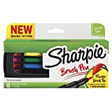 Sharpie Pen, Brush Tip, Assorted Colors, 8 Count + Soft Zip Case (Color: Assorted Colors, Tamaño: 8-Count)