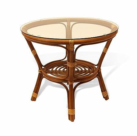 Bahama Handmade Round Rattan Wicker Coffee Table with Glass