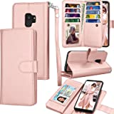 Tekcoo Compatible for Galaxy S9 Wallet Case/Samsung Galaxy S9 PU Leather Case, Luxury ID Cash Credit Card Slots Holder Carrying Folio Flip Cover [Detachable Magnetic Hard Case] Kickstand -Rose Gold (Color: Rose Gold)