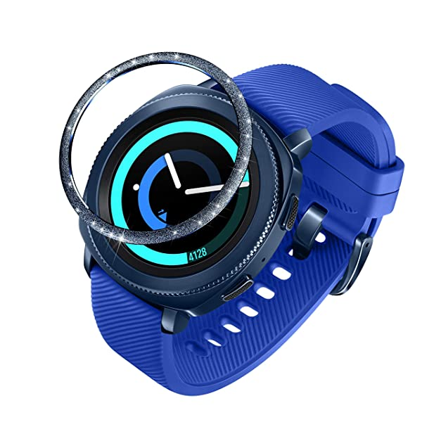 ANCOOL Compatible Samsung Galaxy Watch 42mm/Gear Sport Bezel Ring Adhesive Cover Anti Scratch Stainless Steel Protector Design for Galaxy Watch 42mm/Gear Sport -Blue (Color: Q-07, Tamaño: 42mm)