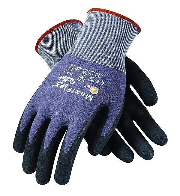 MaxiFlex 34-874 Gloves Nitrile Micro-Foam Grip Palm & Fingers(Size-2XS/12 Pairs) (Tamaño: 2XS)