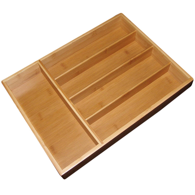 Bamboo flatware organizer 100 narrow kitchen drawer for Utensil organizer for small drawers