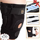 Hinged Knee Brace Plus Size - Newly Engineered Knee Braces with Enhancement on Flexibility, Extra Supportive, Non-Slip and Non Bulky - Wrap Around fit Larger Legs for Men Women 22-25.5 Vie Vibrante (Color: Blue, Tamaño: Size 2 (Blue) : fits 22-25.5