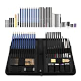 Flowood 40 Piece Professional Art Kit Drawing and Sketching Pencil Set with Eraser,Pastels,Graphite and Charcoal Sticks Art Supplies (Color: Blue, Tamaño: 40 Piece)