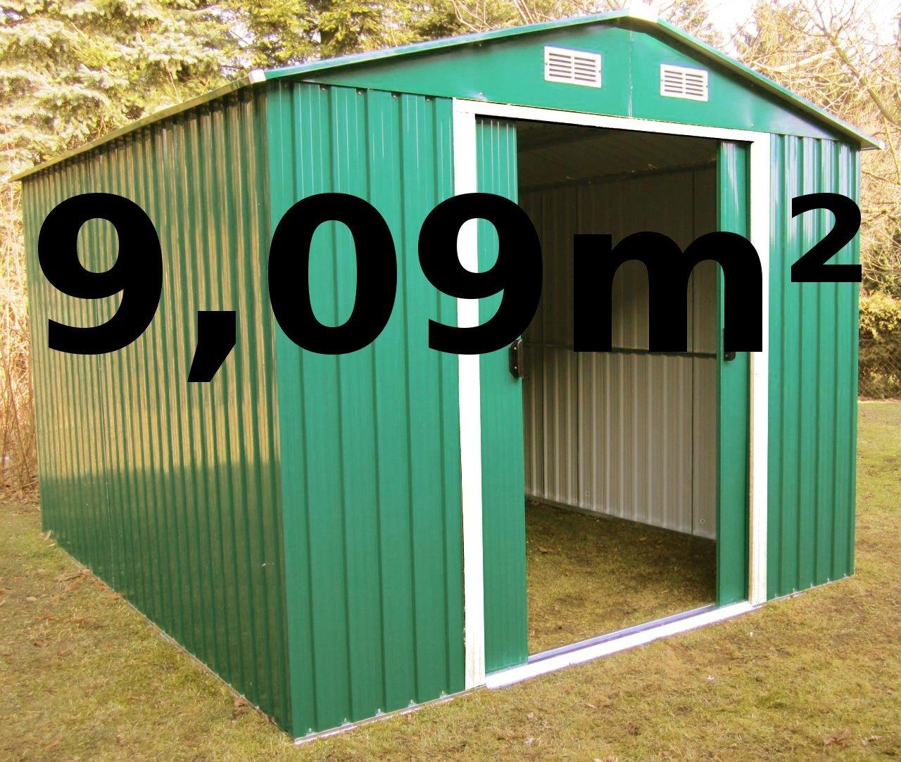 Gartenhaus Geräteschuppen 9,09m² aus verzinktem Stahlblech Metall grün von AS-S