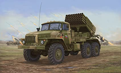 Maquette véhicule militaire : Camion lance roquettes soviétique BM-21 Hali MRL A20