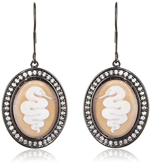 AMEDEO Hand Carved Sardonyx Shell Cameo Surrounded by Cubic Zirconia Featuring a Snake Earrings