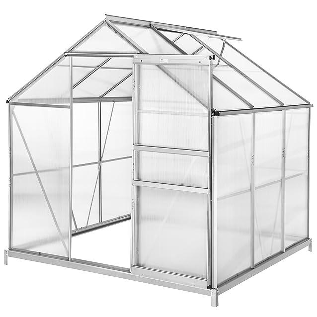 TecTake Serra da giardino in alluminio e policarbonato per piante orto casetta esterno 5,85 m³ - modelli differenti - (190x185x195 cm con base | no. 402472)