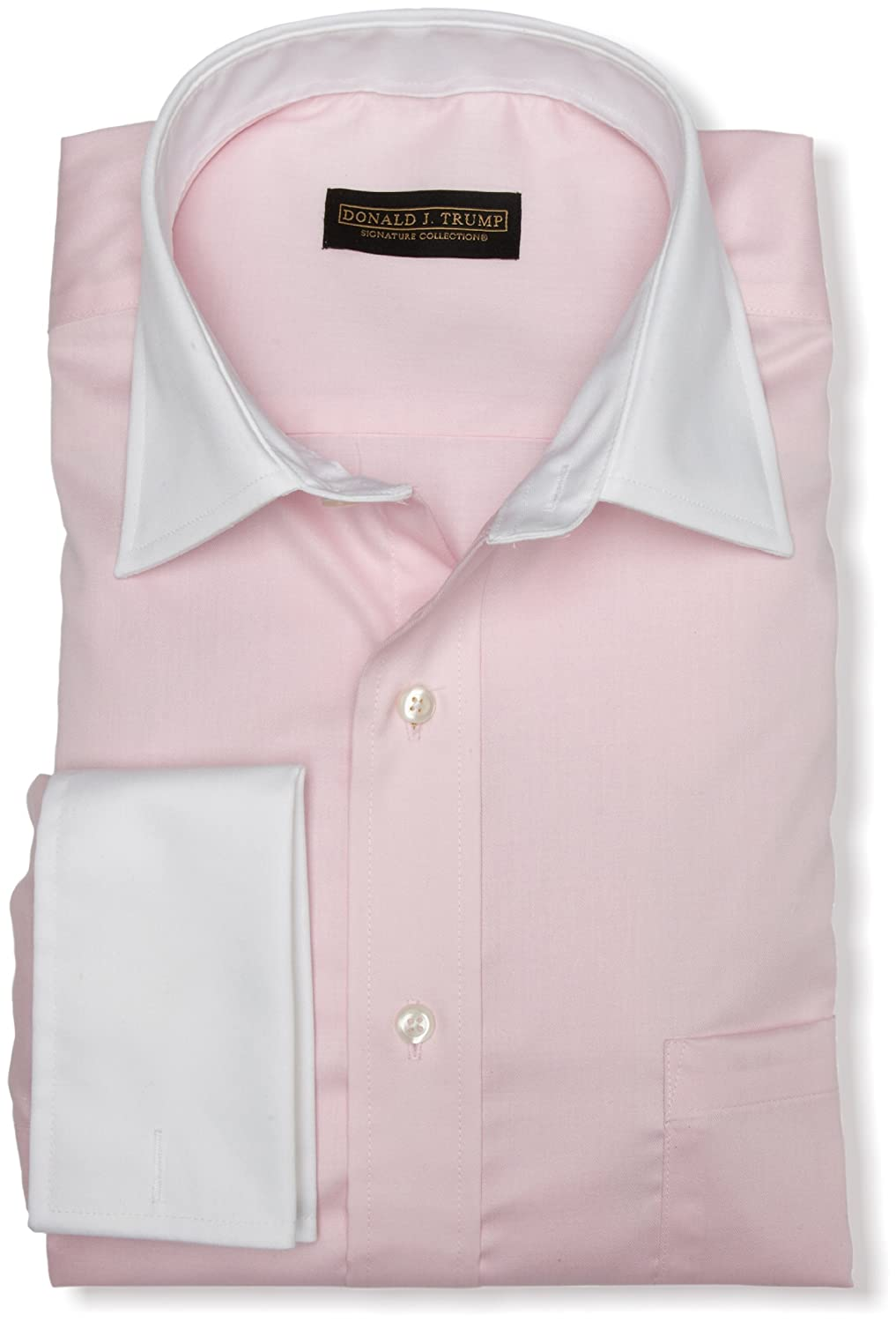 Donald Trump Men's Spread Collar Twill Solid Woven Shirt (Pale Pink)