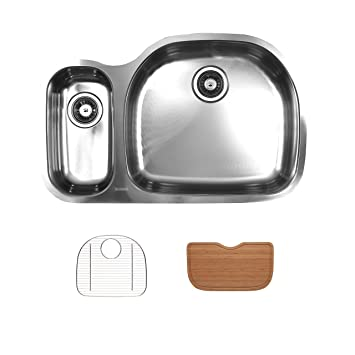 Ukinox D537.70.30.10R.GC Modern Undermount Single Bowl Stainless Steel Kitchen Sink with Bottom Grid & Cutting Board