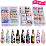 30 Color Nail Foil Transfer Sticker, Kissbuty Holographic Flower Nail Art Stickers Tips Wraps Foil Transfer Adhesive Glitters Acrylic DIY Nail Decoration, 3 Boxes (Starry Flowers Roses) (Color: Starry Flowers Roses)