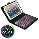 Cooper Backlight Executive Keyboard case Compatible with Lenovo IdeaTab S6000 | 2-in-1 Bluetooth Wireless Backlit Keyboard & Leather Folio Cover | 7 Color LED Keys (Purple) (Color: Purple, Tamaño: Lenovo IdeaTab S6000)