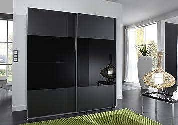 Wimex 163771 Schwebeturenschrank 198 x 180 x 64 cm, Front anthrazit und Glas schwarz, Korpus Alu-Nachbildung