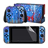 eXtremeRate Full Set Faceplate Skin Decal Stickers for Nintendo Switch/NS with 2Pcs Screen Protector (Console & Joy-con & Dock & Grip) -Rian of Wall (Color: Rian of Wall)