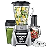 Oster Pro 1200 Blender with Glass Jar plus Smoothie Cup & Food Processor Attachment, Brushed Nickel (Color: Brushed Nickel, Tamaño: 6_cup)