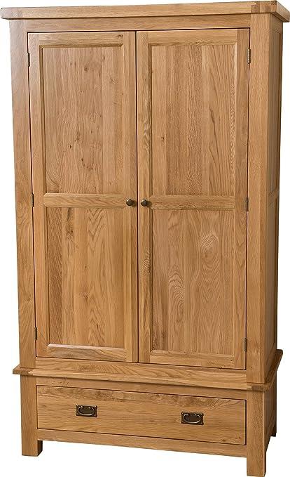 Hermosa Victoria Wardrobe with Lacquer Finish, Solid Oak, Brown, SmallDouble, 112 x 58 x 191 cm