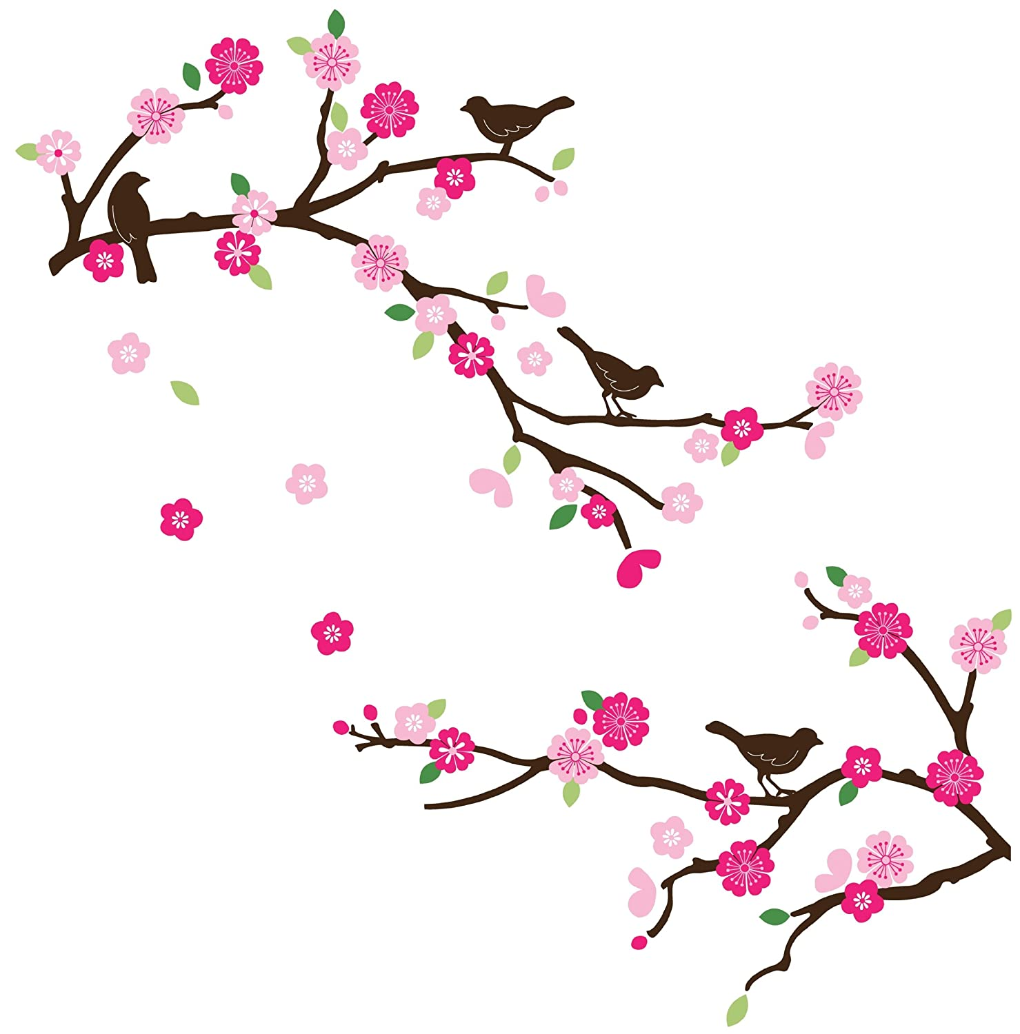 CherryCreek Decals Cherry Blossom & Birds Decorative Nursery/Room Wall Sticker Decals