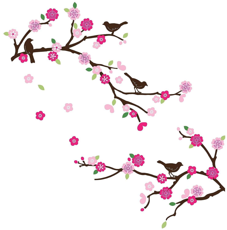 CherryCreek Decals Cherry Blossom & Birds Decorative Nursery/Room Wall Sticker Decals