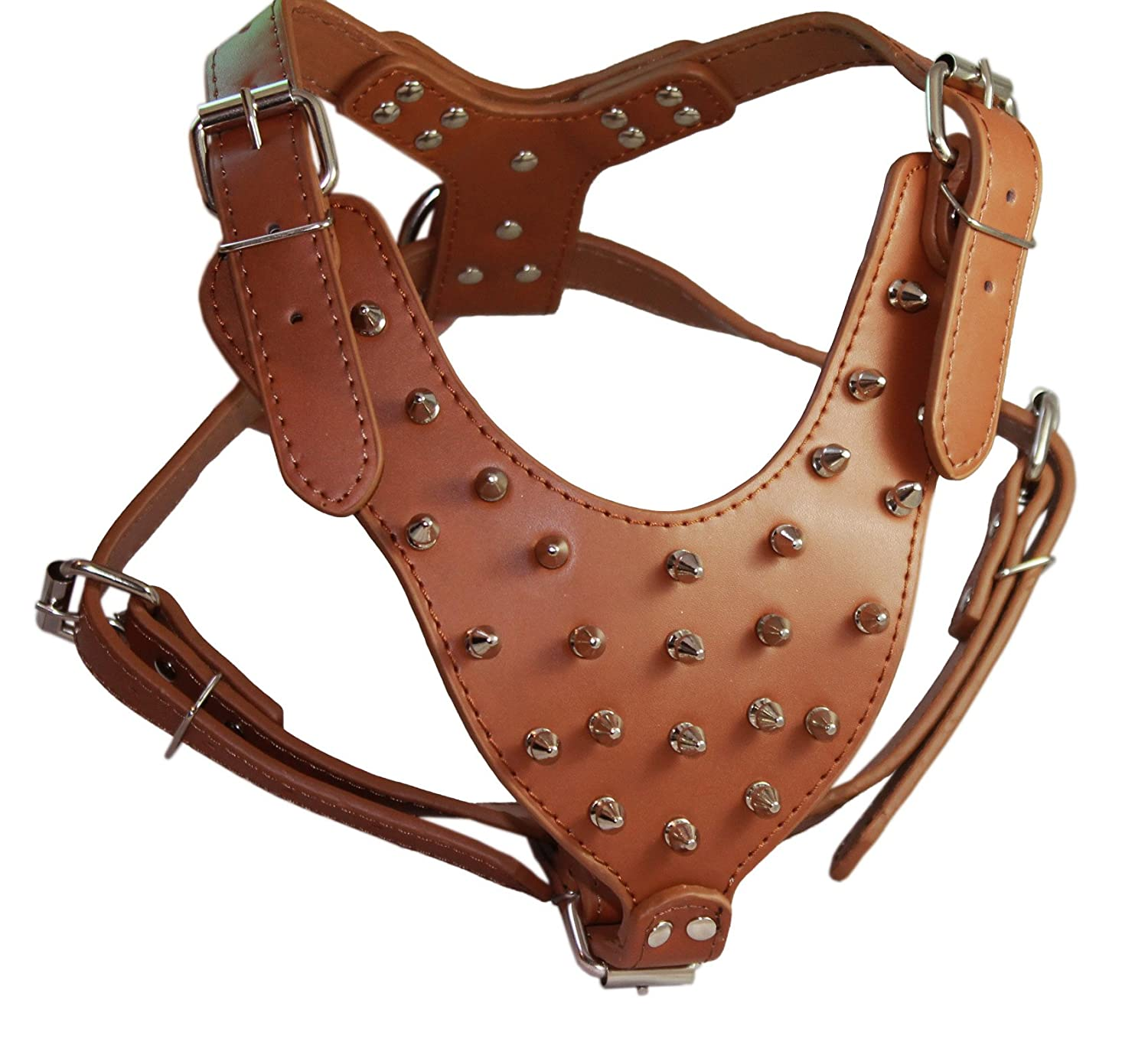 Spiked Leather Dog Harness Large Brown 26