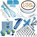 Cake Decorating Supplies Set 136 Pcs by Pepe Nero–Icing Tips, Rotating Turntable, Measuring Spoons, Icing, Tools & For Birthdays,Cookies,Piping, Baking,Frosting, Pastry, Cupcakes, Weddings & more (Color: Blue)