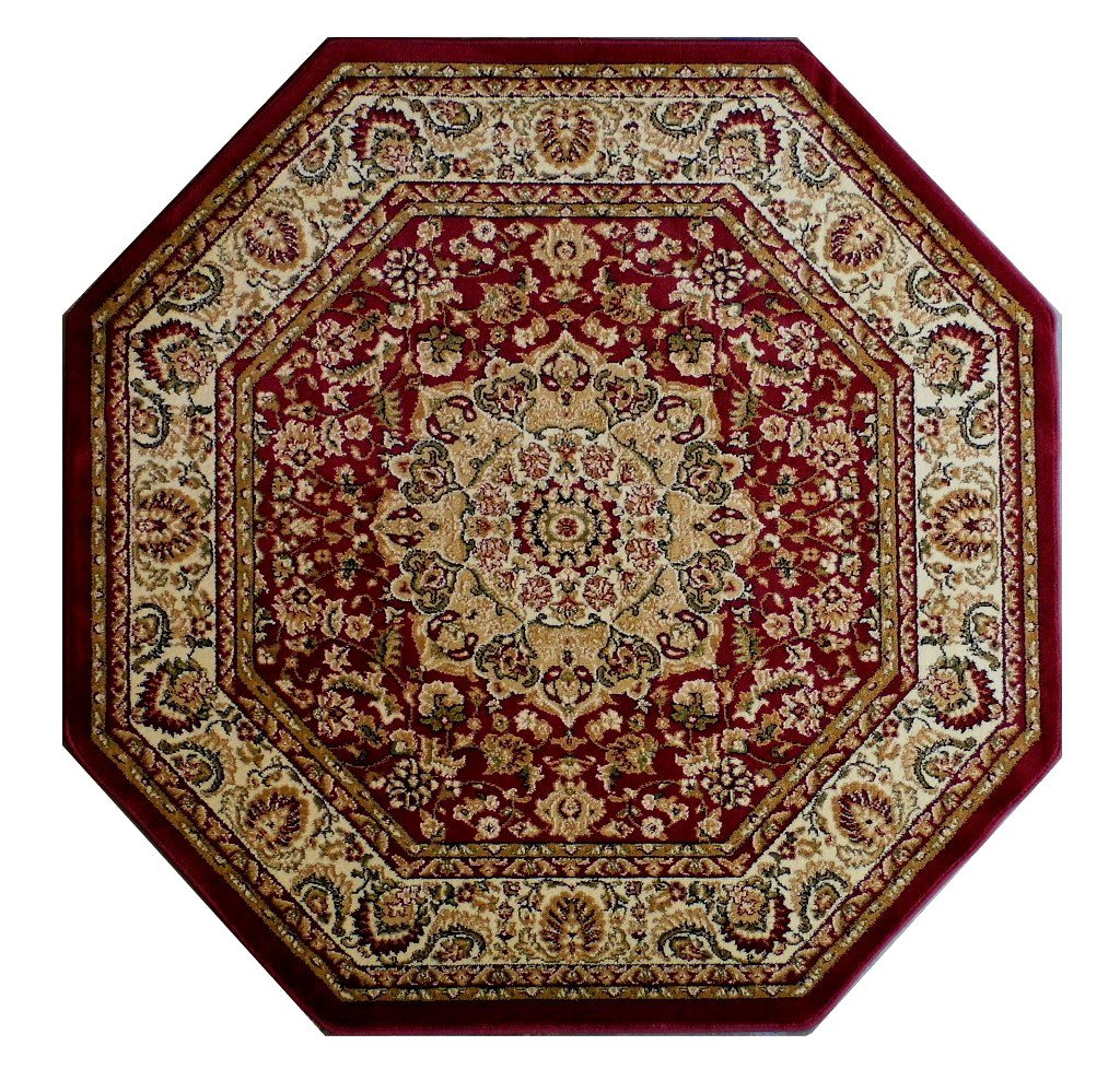 Traditional Octagon Area Rug Design Bellagio 401 Burgundy