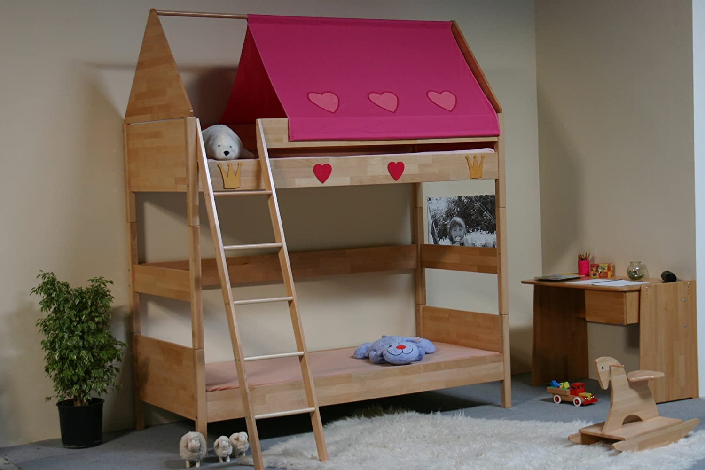TAUBE Kinderbett Etagenbett Prinzessin 182 cm (Ausstattung: mit Treppe, Farbe: Buche-lackiert, Liegefläche (B x L): 90 x 200 cm) günstig