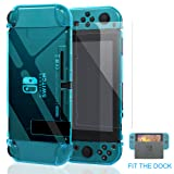 Nintendo Switch Case, Fit the Dock Station, Meneea Protective Accessories Cover case for Nintendo Switch - Dockable with a Tempered Glass Screen Protector, Crystal Clear Blue (Color: Blue)