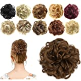 FESHFEN Synthetic Hair Bun Extensions Messy Hair Scrunchies Hair Pieces for Women Hair Donut Updo Ponytail (Color: A33 - 12# Light Golden Brown, Tamaño: Normal)