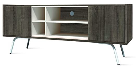 Meuble TV avec 4 niches coloris Britania / Blanc - Dim : L 150 x H 35 x P 60 cm -PEGANE-