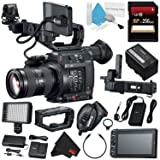 Canon EOS C200 EF Cinema Camera and 24-105mm Lens #2244C002 (International Model) + 256GB SDXC Card + Professional 160 LED Video Light Studio Series + Deluxe Cleaning Kit + Microfiber Cloth Bundle (Color: Starter, Tamaño: w/24-105 Lens)