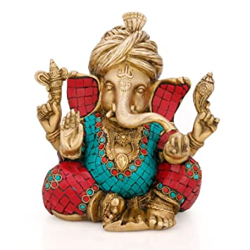 Safa Pagdi Ganesha the Blessing. A Colored & Gold Statue of Lord Ganesh Ganpati Elephant Hindu God Made in India