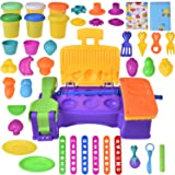 Kids Clay Dough Tool Playset, Play Kitchen Food Creations & BBQ Pretend Cooking Set, Pre-Kindergarten Educational Art Craft Kit with Dough Molds Cutters, Fruit Shapes Maker- 36 pcs (Clay Included)