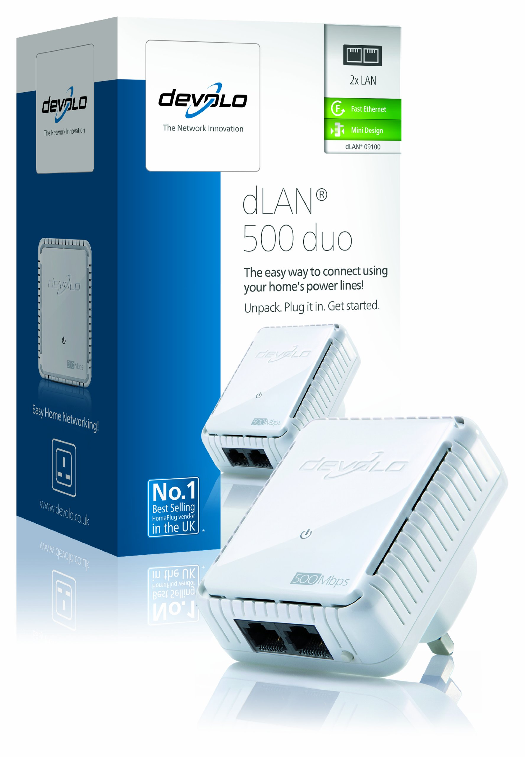 devolo dlan 500 duo add on powerline adapter 2 lan ports small 500 mbps. Black Bedroom Furniture Sets. Home Design Ideas