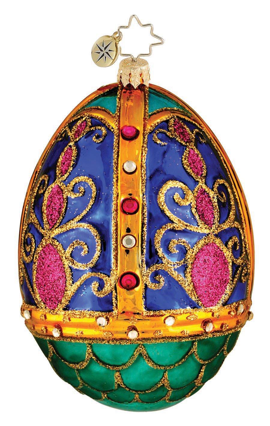 Faberge Inspired Egg Blue Easter Glass Ornament